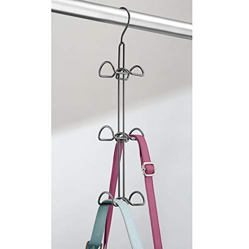 Percheros met/álicos dobles para ordenar armarios y ahorrar espacio Organizador de bolsos chaquetas pa/ñuelos accesorios y mochilas mDesign Juego de 2 colgadores de ropa multiusos plateado